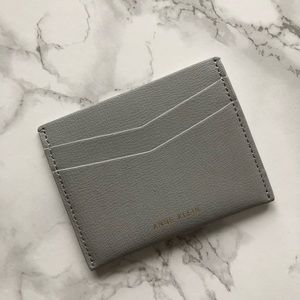 anne klein grey leather card holder